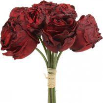 Sztuczne róże czerwone, kwiaty jedwabne, wiązanka róż L23cm 8szt.