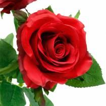 Czerwona Róża Sztuczne Kwiaty Jedwabne 3szt.