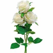 Róża biała na łodydze, kwiat jedwabny, róża sztuczna 3szt.