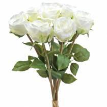 Róża dekoracyjna jedwabna kwiaty w pęczku krem 36cm 8szt.