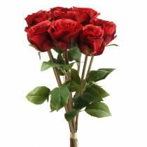 Róża w pęczku sztuczna czerwona 36cm 8szt