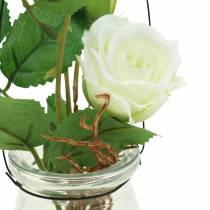 Róża w szkle biała H23cm