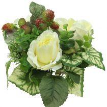 Bukiet Róż/Hortensji Biały z Jagodami 31cm