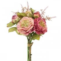 Róże Jedwabne Kwiaty w wiązance Jesienny Bukiet Różowy, Fioletowy H36cm