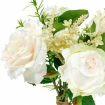 Bukiet Róż Sztuczne Róże Kremowe Jedwabne Kwiaty w Bukiecie