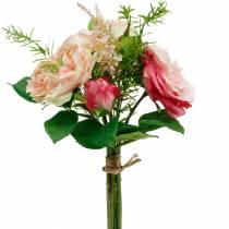 Bukiet Sztucznych Róż w Pęku Różowy Bukiet Jedwabnych Kwiatów