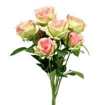 Krzew różany sztuczny zielony, różowy 55cm