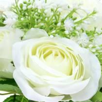 Bukiet róż z pierwiosnkiem biały 26cm