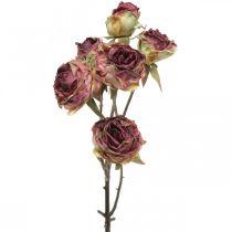 Sztuczna Róża, Dekoracja Stołu, Sztuczny Kwiat Różowy, Gałązka Róży Antique Look L53cm