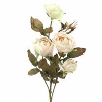 Róża gałązka sztuczna kremowa biała 76cm