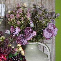 Gałązka róży, jedwabny kwiat, dekoracja stołu, sztuczna róża fioletowy Antique Look L53cm