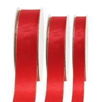 Wstążka satynowa czerwona z złotym brzegiem 40m