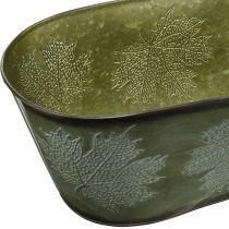 Autumn Planter Bowl, Metal Deco z liśćmi Decor Green L38cm H15cm