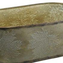 Jesienna donica, sadzarka z liśćmi, Metal Deco Golden L38cm H15cm