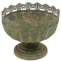 Rustykalna donica, misa z nóżką, metalowa dekoracja antyczny wygląd Ø18,5cm H15cm