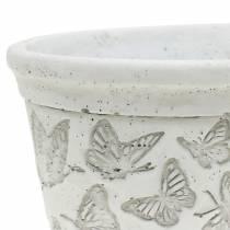 Doniczka Miska biała z motylkami 17cm x 12cm H8cm 2szt.