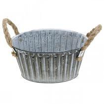 Metalowa miska do sadzenia roślin, doniczka z uchwytami, miska na kwiaty Ø22cm
