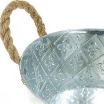 Misa dekoracyjna srebrna z uchwytami metalowa sadzarka Ø21cm