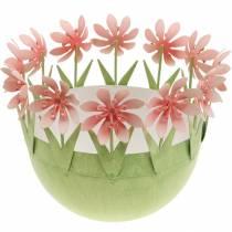 Miska na doniczki, dekoracja wiosenna, metalowa miska z dekoracją kwiatową, koszyczek wielkanocny