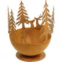 Metalowa miska z jeleniem, leśna dekoracja na adwent, dekoracyjny słoik Rdza Ø25cm H29cm