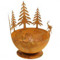 Misa dekoracyjna z saniami bożonarodzeniowymi, dekoracja adwentowa, naczynie metalowe ze stali nierdzewnej Ø25cm H32,5cm