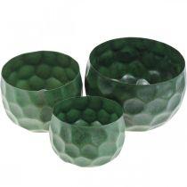 Deco Bowl Metal Green Vintage Cachepot Ø25/20,5/16,5cm Zestaw 3 szt.