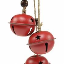 Dzwonki z gwiazdą na wstążce do zawieszenia czerwone L30cm 2szt.
