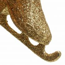 Ozdoby choinkowe łyżwy złote, brokat 8cm 12szt