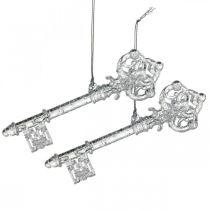 Ozdoba choinkowa klucz, adwent, zawieszka na choinkę z brokatem przezroczysta/srebrna L14,5cm plastikowa 12szt.