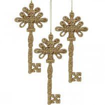 Deco Key, ozdoba świąteczna z brokatem, ozdoba choinkowa złota H15,5cm 12szt.