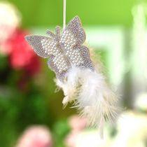 Filcowy motyl wiszący kremowy Dekoracja ślubna 16cm