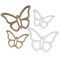 Motyl drewniany biały/natura 3cm - 4,5cm 48szt.