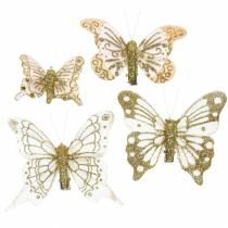 Motyl z piór na klipsie złoty brokat 10szt