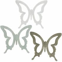 Motyl do sypania 4cm Brązowy, Jasnoszary, Biały Letnia dekoracja do sypania drewno 72szt.