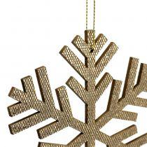 Płatek śniegu złoty do zawieszania Ø8cm - Ø12cm 9szt