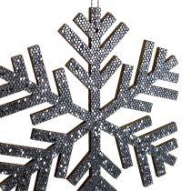 Płatek śniegu szary do powieszenia Ø8cm - Ø12cm 9szt