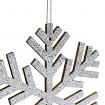 Płatek śniegu srebrny do zawieszenia Ø8cm - Ø12cm 9szt