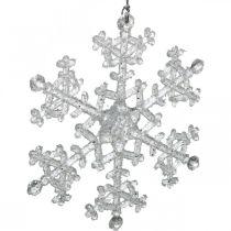 Dekoracyjny płatek śniegu, dekoracja zimowa, kryształ lodu do zawieszenia, świąteczny H10cm W9,5cm plastikowy 12szt.