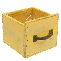 Deco Drawer Vintage Planter Wood Yellow 12,5×12,5×11cm