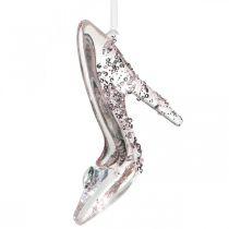Błyszczący but dekoracyjny, ozdoba na drzewo, but z bajki, różowy plastik H10cm