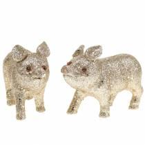 Dekoracja Świnka Pig Glitter Champagne 10cm 8szt.