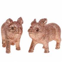 Deco Pig Glitter Pink 10cm 8szt.