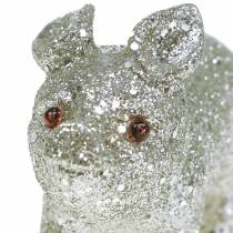 Deco Pig Glitter Silver 10cm 8szt.