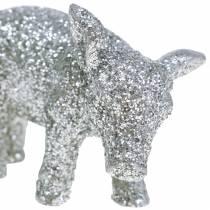 Dekoracja Świnka Sylwestrowa srebrny brokat 3,5cm 2szt.