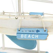 Dekoracyjna drewniana żaglówka Blue, White H41,5cm