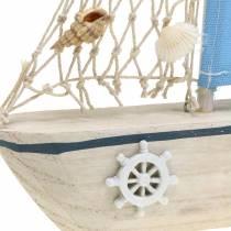 Deco Żaglówka Drewno Niebieski Biały Natura 20x4cm H30cm