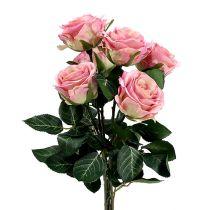 Jedwabne kwiaty róży Ø7cm L37cm ciemnoróżowe 6szt