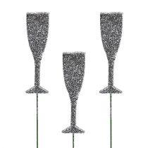 Kieliszek do szampana z brokatem srebrny 8cm L28cm 24szt.