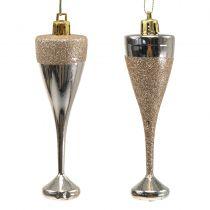 Kieliszki do szampana wiszące jasne złote 10cm 8szt.