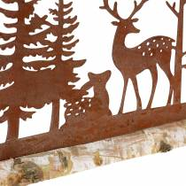 Sylwetka lasu ze zwierzętami stal nierdzewna na drewnianej podstawie 57cm x 25cm